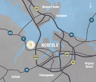 Bridgeport Suffolk Area Map with labels